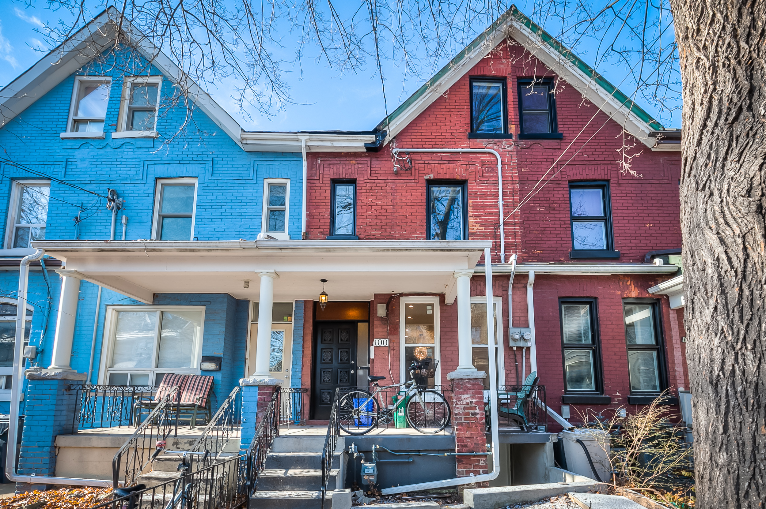 blue and red brick town homes in Toronto